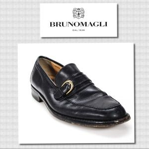 Bruno Magli Black Leather Buckle Dress Loafers 9